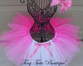 Pink Waterfall- Pink and White Tutu with hairbow:  Newborn-5T