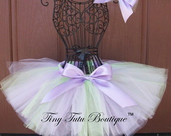 PRINCESS and THE FROG- purple and green infant/child tutu and hairbow:  Newborn-5T