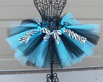 Wild Blue Zebra- Blue and Black zebra print child/baby tutu with hairbow:  Newborn-5T