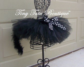 Pretty Kitty---Black with black/ white polkadot marabou baby/child TUTU with matching puff hairclips:  Newborn-5T