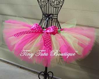 SPRING FLING- Hot Pink and Lime Green Polka-dot infant/child tutu with hairbow:  Newborn-5T