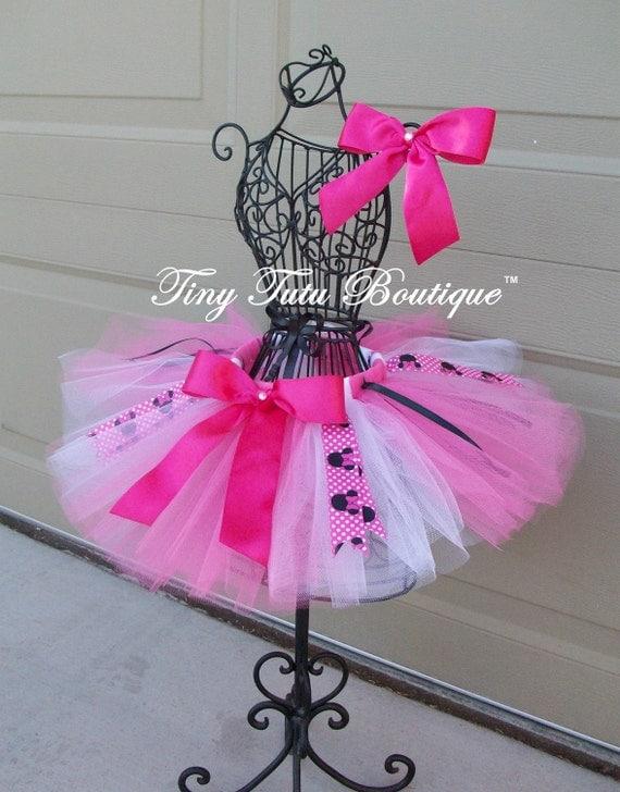 Pink Minnie- Pink,White,Minnie Mouse baby/child Tutu wit hairbow:  Newborn-5T