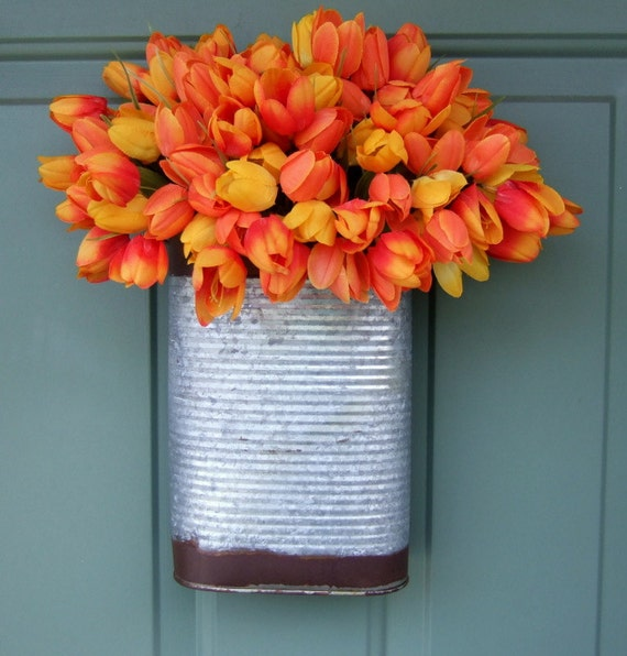 Spring Wreath Tulip Wreath Tulip Door Basket