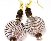 Romantic Gold Dangle Earrings - Hollow Glass Bubble Earrings - Oxblood Dark Burgundy Red Russian Amethyst Earrings - Stripe Swirl