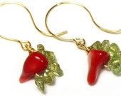Gold Earrings, Red Hot Chili Peppers Earrings, Red Coral Earrings, Green Peridot Earrings, Gemstone Earrings, Wire Wrapped Gift for her