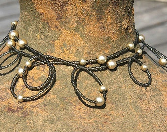 Summer Outdoors Champagne Pearl Bubble Necklace. Gray Beige Seed Bead Necklace. Wear it Long or Doubled or as 4 Wrap Bracelet