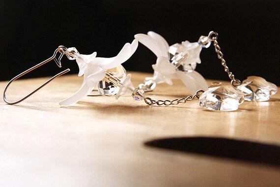 Crystal Butterfly Earrings, Frosted Flower Earrings, Snow White Earrings, Bridal Earrings, Wedding Earrings, Sterling Silver Chain Earrings,
