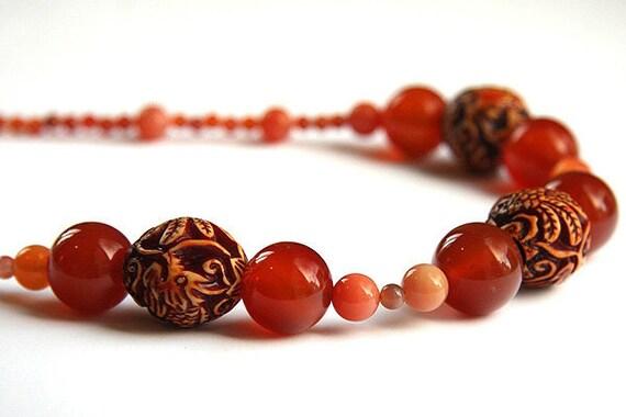 Burnt Orange Necklace. Big Chunky Carnelian Necklace. Large Dragon & Phoenix Tribal Resin Beads. Statement Jewelry. Brownish Red Chalcedony