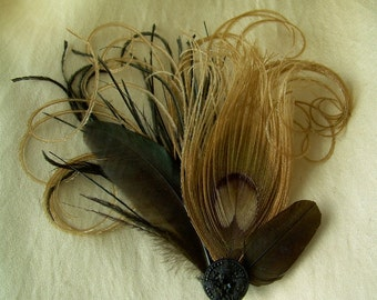 Daguerreotype-  black and brown feather fascinator with antique button and cruelty free feathers