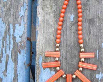 Vintage Boho Necklace Orange 1980 80s Modern Bohemian Tribal Statement Neck Piece
