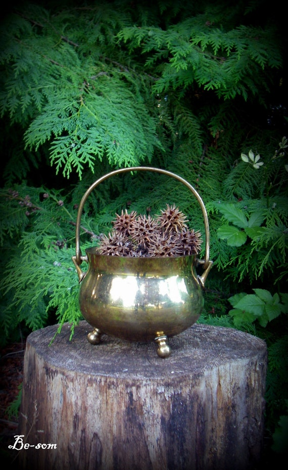 RESERVED for Rain - Special Brew  - Vintage Gold Toned / Brass Cauldron / Pot of Gold - perfect for altar or fireplace.