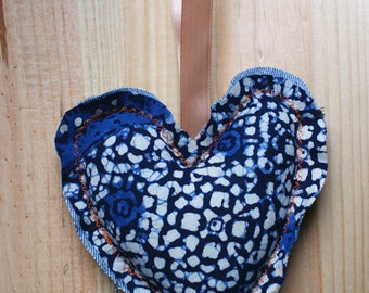 Decorative heart shaped hanger in blue and denim