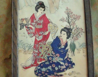 Vintage Watercolor Painting Geisha Ladies in the Garden