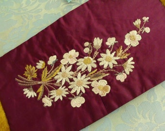 Antique Silk Panel of Embroidered Flowers    SALE - was 58.00