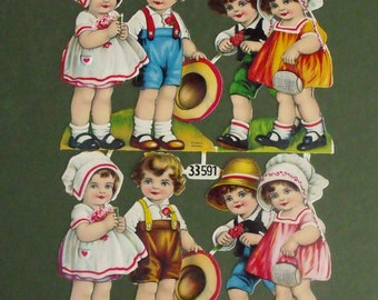 Antique German Die Cuts of Children Unused
