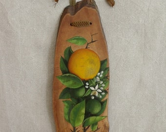 Orange Branch with Blossoms Painting on Board    Sale was 59.00