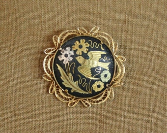 Vintage Spanish Damascene Round Brooch With Filigree and Bird   SALE - was 29.00