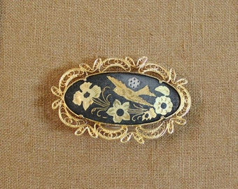 Vintage Spanish Damascene Oval Brooch With Filigree and Bird   SALE - was 28.00