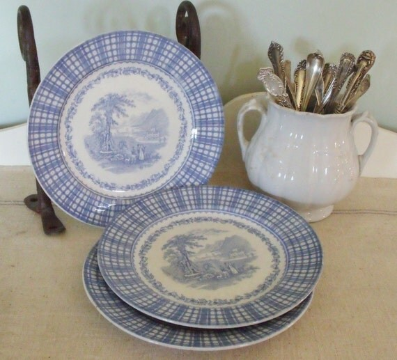 Antique Set of 3 English Blue Transfer Ware Luncheon Plates