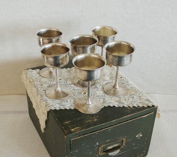 Set of 6 Antique Hammered Silver Plate Wine Goblets