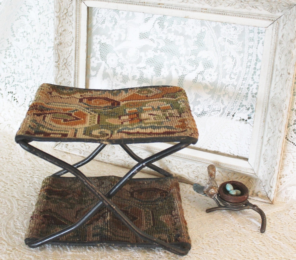Antique Buggy Seats : Antique victorian folding buggy seat stool