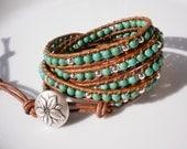 Turquoise Jewelry Flower Jewelry Leather Wrap Bracelet Turquoise Bracelet