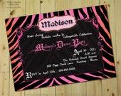 ZEBRA CHIC Invitation - Personalized DIY Printable Bachelorette Party Invite