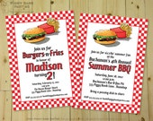 BURGER-n-FRIES Invitation - Personalized DIY Printable