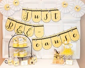 Just BEE-cause Collection - Printable Bee Themed DIY Party Decorations
