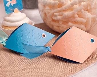 FISH Favor Box Set - Blue & Orange : DIY Printable Ocean Blue PDF - Instant Download
