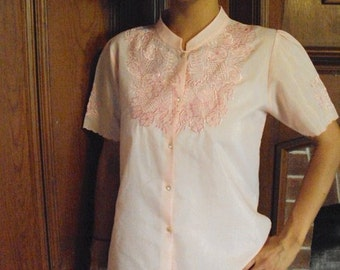 Vintage Floral Embroidered Pink Romantic Button-up Blouse