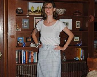 Vintage 1980's Pale Blue Long Pencil Skirt by John Meyer