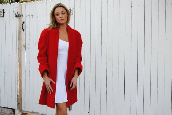 Vintage 1980's Scarlet Red Velvety Structured Long Coat