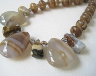 Botswana Agate Necklace Teardrop Briolette Quartz Crystal