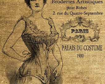 INSTANT DOWNLOAD French Corset Vintage Illustration Download and Print Image Transfer Digital Sheet by Room29 Sheet no. 244