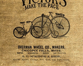 INSTANT DOWNLOAD - Vintage Bicycle Ad - Download and Print Image Transfer Digital Sheet by Room29 Sheet no. 291