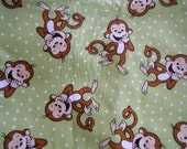 Monkey green Giggling tie on Embroidered Dog bandana