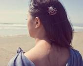 Purple Shell Barrette Mermaid Hair Clip Bridal Bridesmaid Seashell Sea Nautical Destination Beach Wedding Accessories Womens Gift For Her