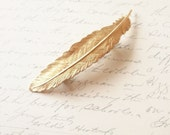 Gold Feather Barrette Bridal Hair Clip Free Spirit Bird Nature Tribal Boho Bohemian Rustic Woodland Wedding Hair Accessories Womens Gift