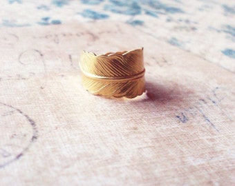 Gold Feather Ring Beauty And The Beast Jewelry Belle Costume Bird Boho Bohemian Emma Watson Accessories Womens Gift For Her Size 4 5 6 7