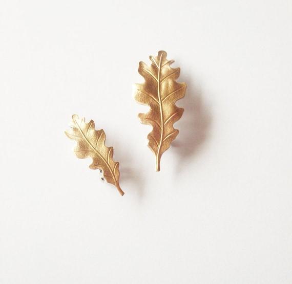 Gold Oak Leaf Hair Clips Bridal Barrettes Nature Botanical Garden Bridesmaid Rustic Woodland Wedding Accessories Womens Gift Autumn Fall