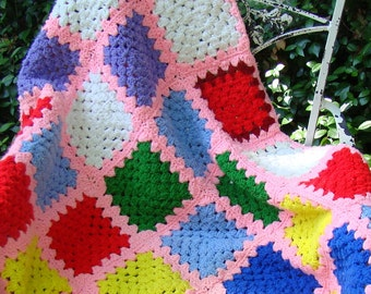 Crochet Baby Afghan, Vintage Handmade Granny Square Afghan, Bright Multi-Colors with Pink Border, Toddler Blanket, Patchwork Lap Throw