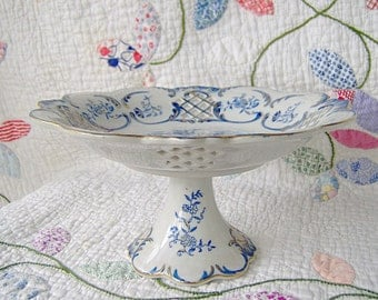 Antique Blue and White Scalloped Edge Reticulated Pedistal Compote