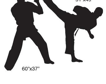 Vinyl Wall Decal Sticker Dual Karate Martial Arts 5ft tall item 223A