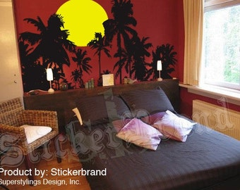Vinyl Wall Decal Sticker Tropical Palm Trees Night Sunset 376