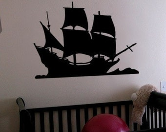 Vinyl Wall Decal Sticker Pirate Sail Ship 197A