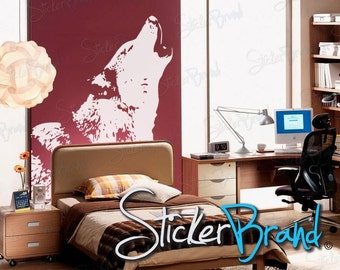 Vinyl Wall Art Decal Sticker Howling Wolf (white only) item 522A
