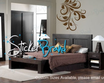 Vinyl Wall Decal Sticker Swirl Flower Floral 705s