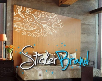 Vinyl Wall Decal Sticker Corner Flower Bkgrd 750
