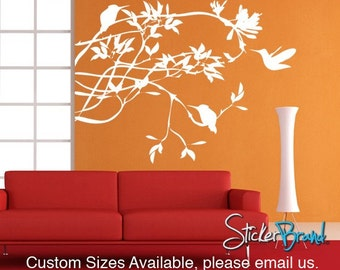 Vinyl Wall Decal Humming Bird on Branches AC118B
